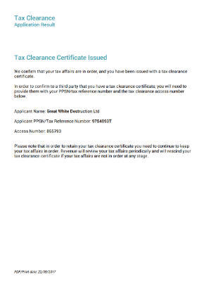 Tax Clearance Certificate   Great White