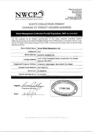 Waste Collection Permit   Great White
