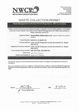 waste collection permit 2021
